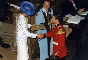 Nigel receiving the `Queen's Commendation for Excellence' at the Royal Academy of Music in 1986 from Her Royal Highness the Princess of Wales