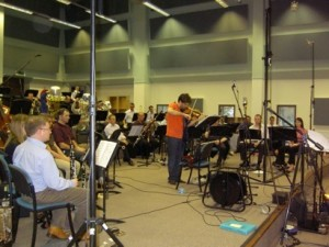 Peter Sheppard Skaaeved recording 'Black Fire' with the Band of the Roayl Marines Portsmouth